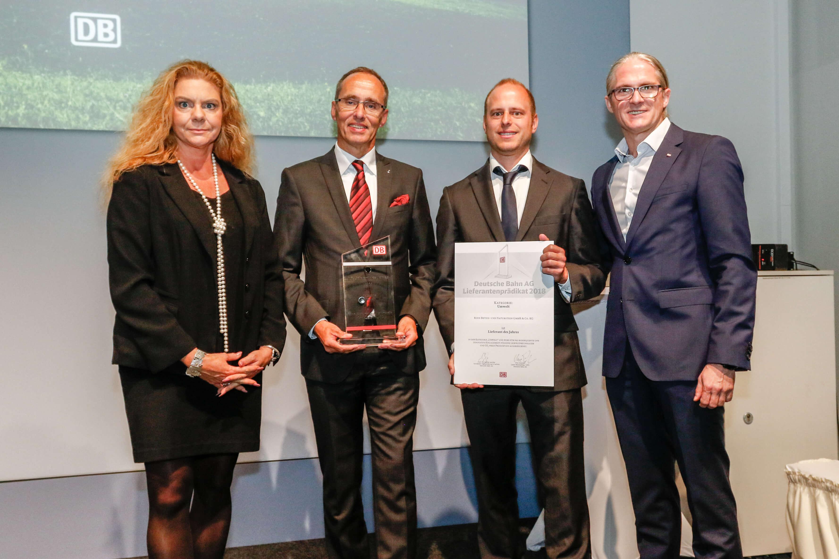 Rinn gewinnt den Lieferanten-Award Umwelt der Deutschen Bahn